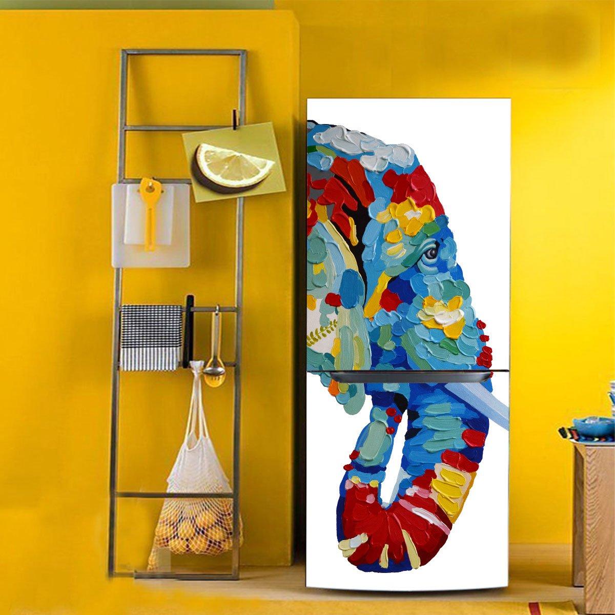 RAIN QUEEN HD Colourful Elephant Fridge Wardrobe Door Cover Prints ...