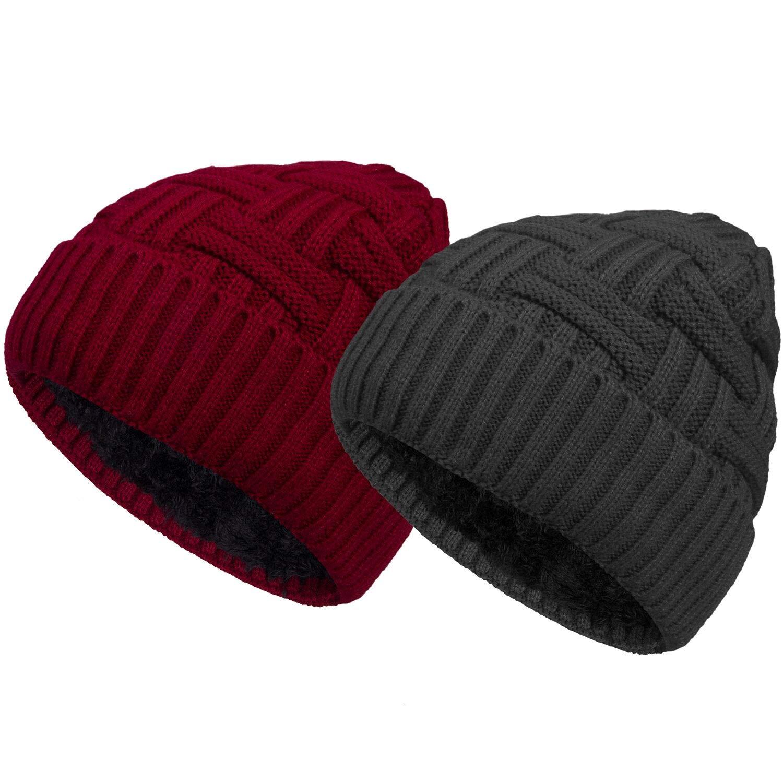 Ousipps 2 Pack Winter Hats for Men Baggy Mens Black Beanie Hat Ski Snow Skull Caps