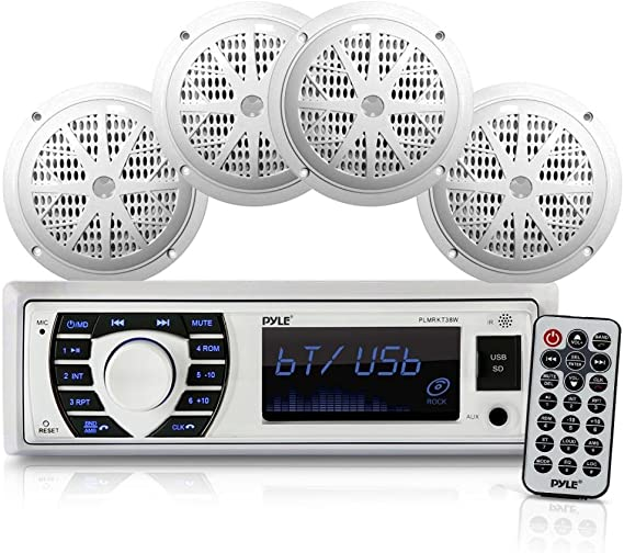 Amazon.com: Marine Radio Receiver Speaker Set 12v Single Din Style  Bluetooth Compatible Waterproof Digital Boat In Dash Console System with  Mic 4 Speakers, Remote Control, Wiring Harness PLMRKT38W (White) | Pyle Marine Radio Wiring Diagram |  | Amazon.com