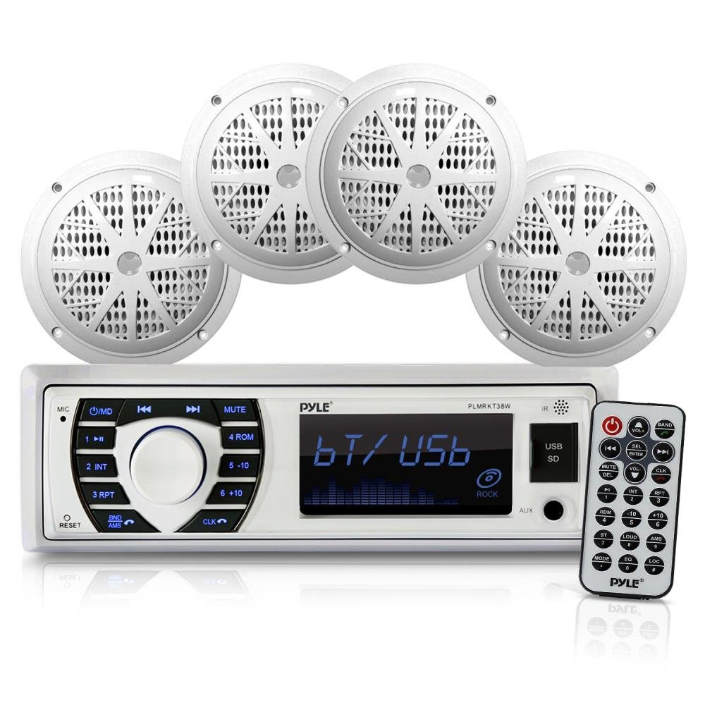 Marine Radio Receiver Speaker Set - 12v Single DIN Style Bluetooth Compatible Waterproof Digital Boat In Dash Console System with Mic - 4 Speakers, Remote Control, Wiring Harness - PLMRKT38W (White) by Pyle