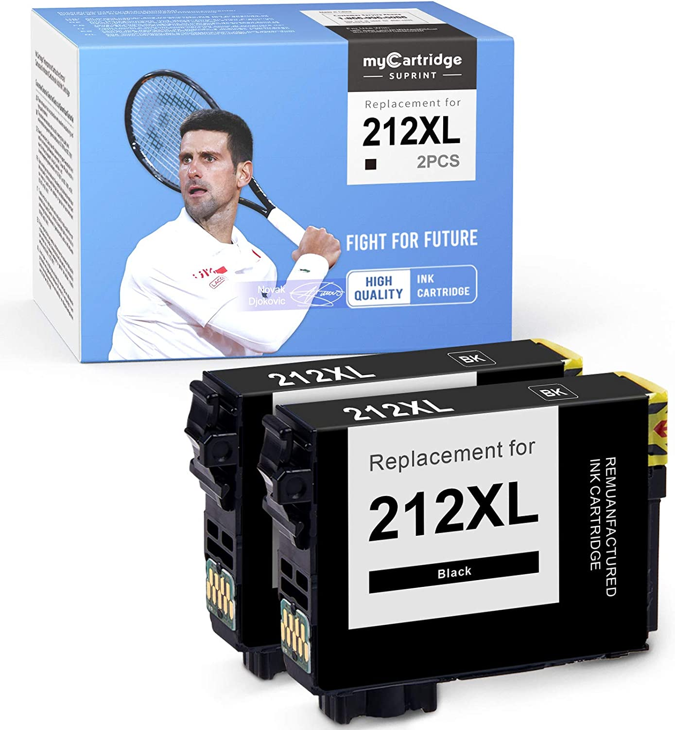 myCartridge SUPRINT Remanufactured Ink Cartridge Replacement for Epson 212XL 212 XL Black Workforce WF-2850 WF-2830 Expression Home XP-4105 XP-4100 (2-Pack)