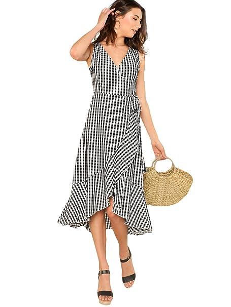66ca432bf0 Milumia Women's Sleeveless V Neck Hight Waist Gingham A Line Long Dress  Small Black and White