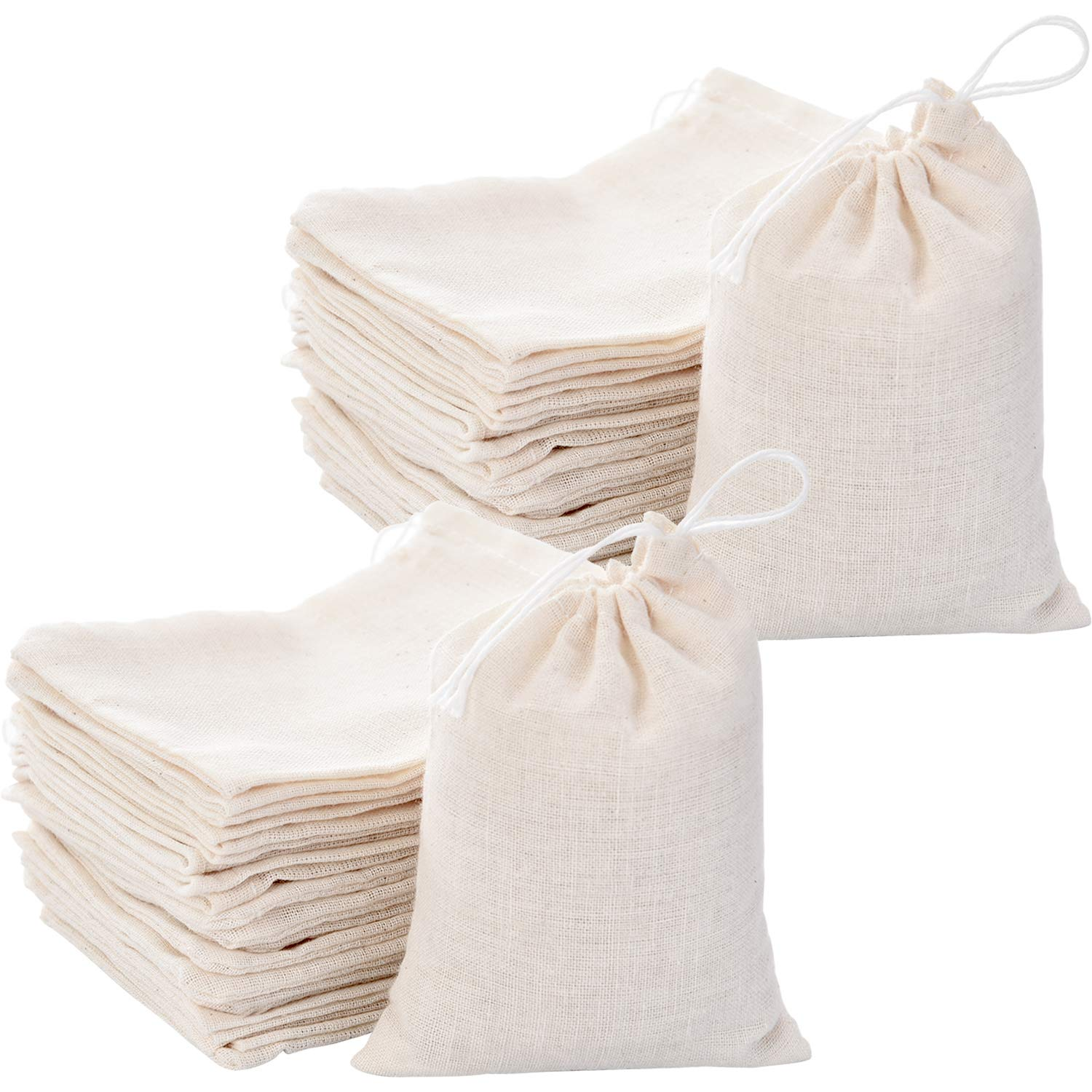 Tatuo 200 Pack Cotton Muslin Bags Burlap Bags Sachet Bag Multipurpose Drawstring Bags for Tea Jewelry Wedding Party Favors Storage (3 x 4 Inches)
