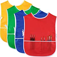 SATINIOR 4 Pieces Art Smock for Kids Artist Smock Waterproof Painting Apron Painting Smocks for Children, 4 Colors (Red, Green, Gold, Royal Blue)