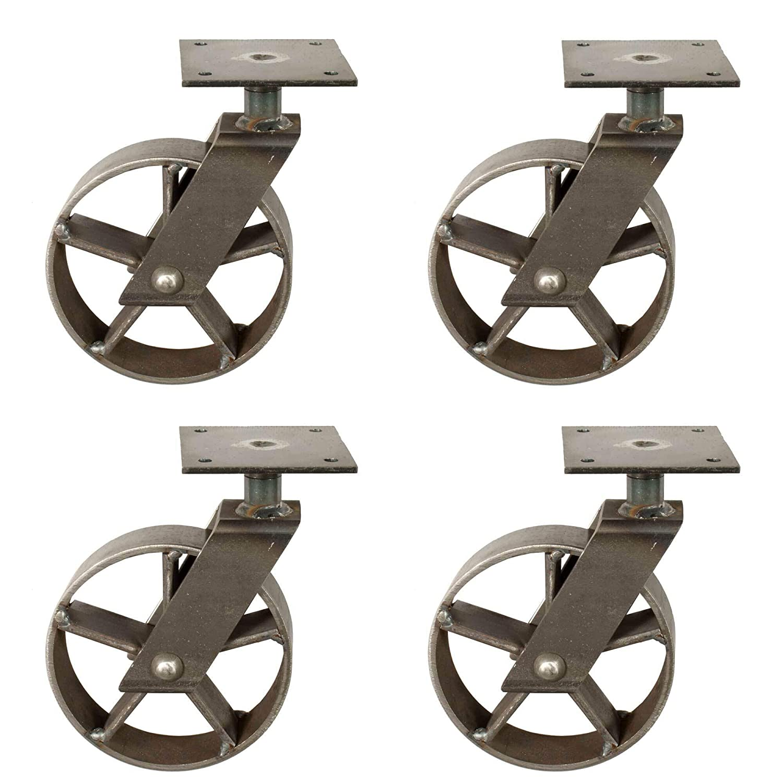 4x Lenkrolle vintage Look mit L/öchern I aus Eisen I M/öbelrolle Transportrolle I handgefertigt