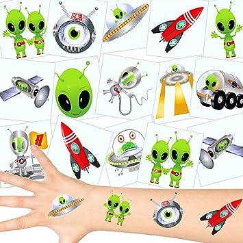 German Trendseller® 12 x tatuajes temporales extranjero┃ fiestas infantiles┃ idea de regalo┃piñata┃cumpleaños de niños┃ 12 unidades…