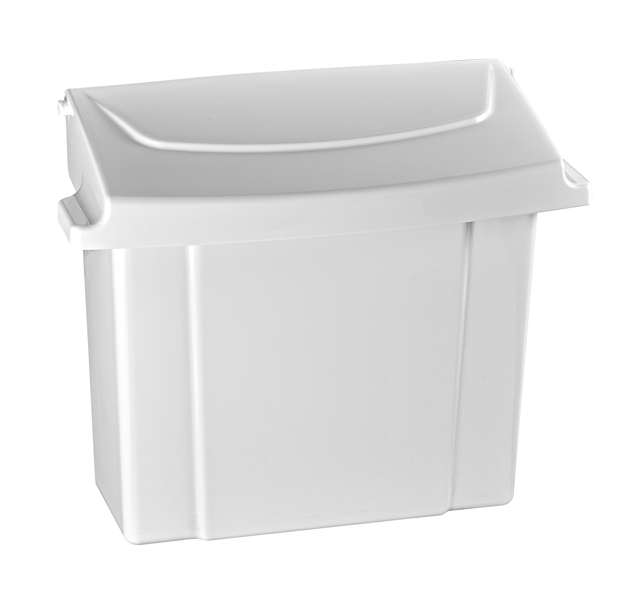 Alpine Sanitary Napkins Receptacle - Feminine Hygiene Products, Tampon & Waste Disposal Container - Durable ABS Plastic - Seals Tightly & Traps Odors -Easy Installation Hardware Included (White)