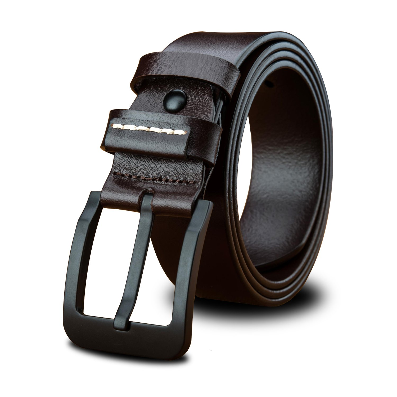 LUCIANO Casual Italy Cowhide Genuine Leather Black & Brown Belt Men's Dress Belts BR-48