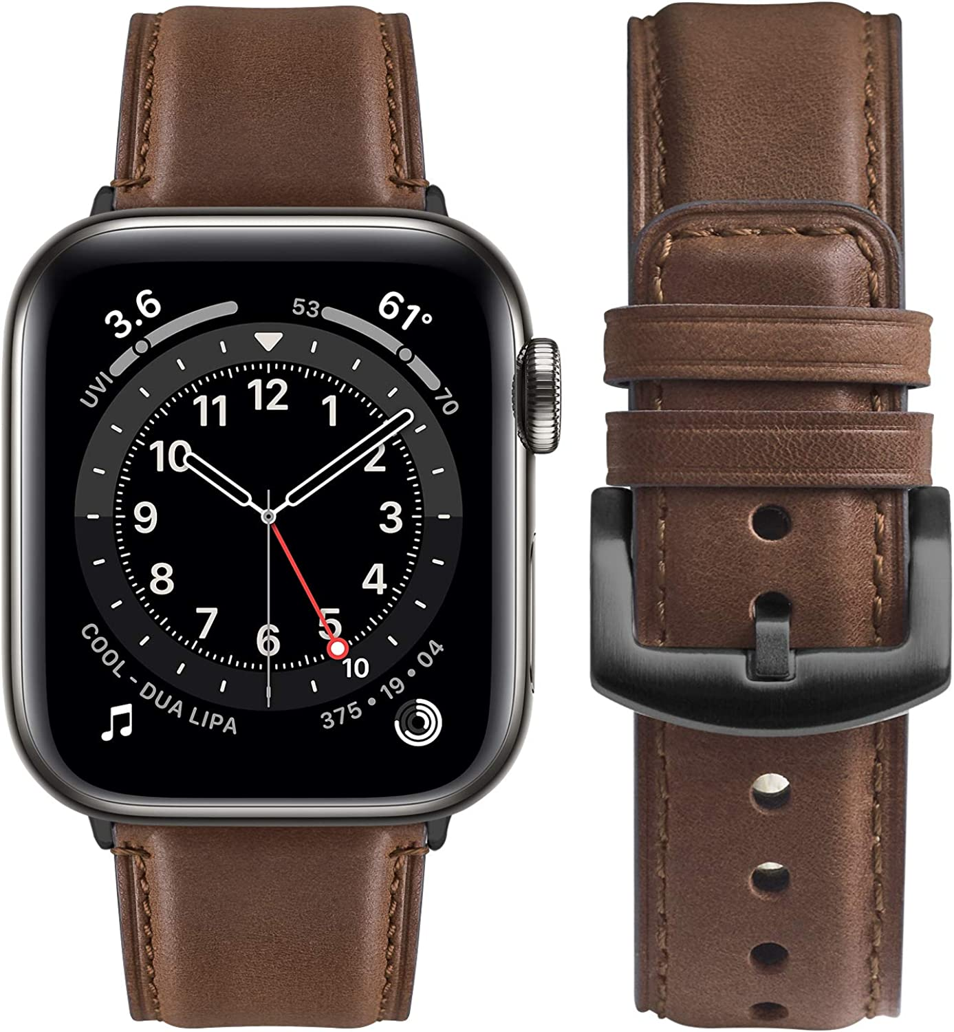 Fullmosa Compatible for iWatch 38mm 40mm 42mm 44mm, Yola Leather Watch Band for iWatch Series SE/6/5/4/3/2/1, Nike+, Edition, Sport