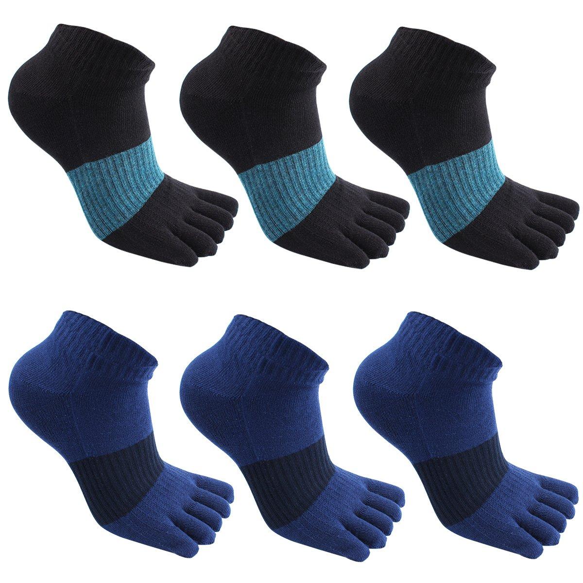 Mens Cotton Toe Socks Running Five Finger socks No Show Crew Socks for Men toe socks 2+hll-18