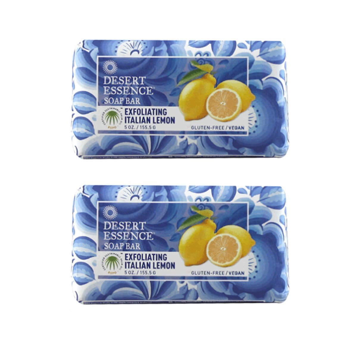 Desert Essence Exfoliating Lemon Soap Bar, Gluten Free/Vegan, 5 oz. (Pack of 2)