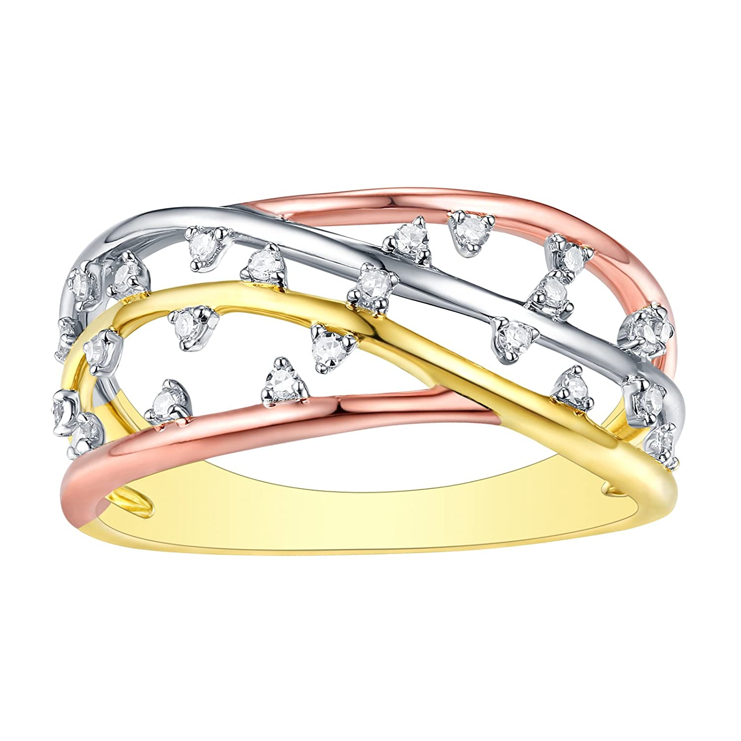 10k Tri Color Gold Prism Jewel 0.12Ct Natural G-H//I1 Round Diamond Stackable Ring