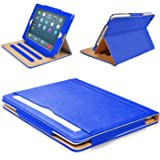 """MOFRED® Blue & Tan Apple iPad Air 2 (Launched Oct. 2014) Leather Case-MOFRED®- Executive Multi Function Leather Standby Case for Apple New iPad Air 2 with Built-in magnet for Sleep & Awake Feature -- Independently Voted by """"The Daily Telegraph"""" as #1 iPad Air 2 Case!"""