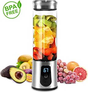HWZXBCC Portable Blender, Smoothie Blender, Electric Shaker Bottle, 3 in 1 Cordless Mixer USB Rechargeable Personal Blender for Shakes, Smoothie and Juice, Six Blades& LED Displayer, High-quality Stai