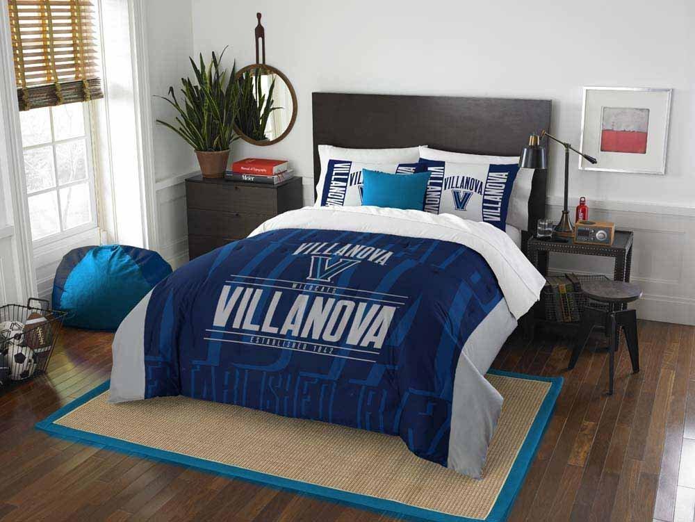 3pc NCAA Villanova University Wildcats Comforter Full/Queen Set, Grey, Blue, Team Logo, Team Spirit, College Basket Ball Themed, Fan Merchandise, Sports Patterned Bedding