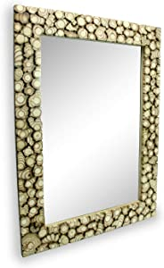 roro Distressed Wood Mounted Hanging Framed Mirror, Cross-Section Style 29 x 21 Inch
