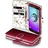 Galaxy A5 2016 Cover, Terrapin Handy Leder Brieftasche Case Hülle mit Kartenfächer für Samsung Galaxy A5 2016 Hülle Rot mit Blumen Interior