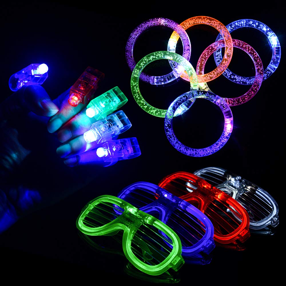 LED Party Favors,BASEIN 50PCS LED Light Up Toys Glow in the Dark Party Supplies for Kids Adults Teens with 40 LED Finger Lights,6 Bracelets and 4 Flashing Slotted Shades Glasses