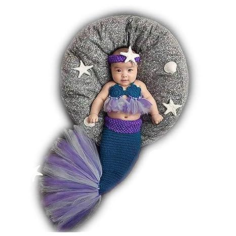 xshelley recién nacido niño niña bebé disfraz trajes de punto fotografía Props Crochet sirena sujetador de