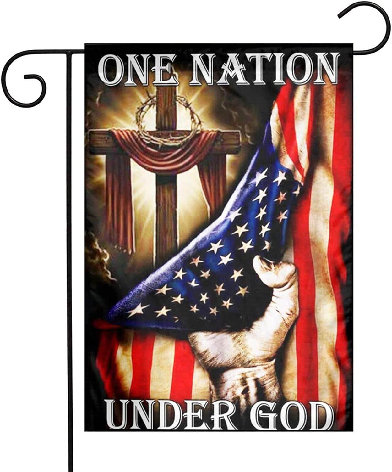 One Nation Under God,Jesus Christian Cross American Patriotic Garden Flags 12 X 18,Welcome/Farmhouse/Outdoor/Decor/Front Porch/Patriotic Yard Flag
