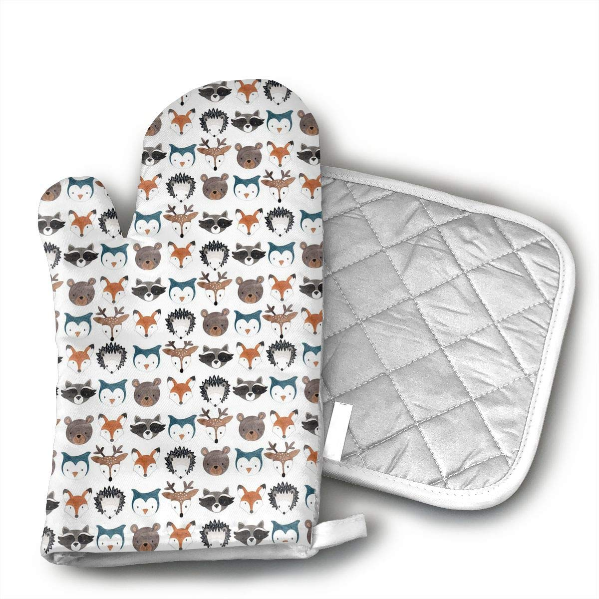 Fechahao Woodland Creatures Deer Bear Mouse Oven Mitts with Quilted Cotton Lining - Heat Resistant Kitchen Gloves, Matching Mini Oven Mitts