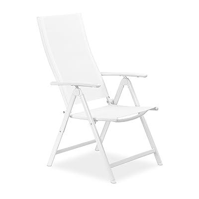 Relaxdays Chaise de jardin en alu pliable métal avec dossier réglable balcon HxlxP; 100 x 56 x 100 cm camping festival, blanc