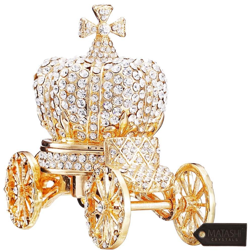 Matashi Crown Hinged  Trinket Box   Hand-Painted Jewelry Holder with Elegant Crystals