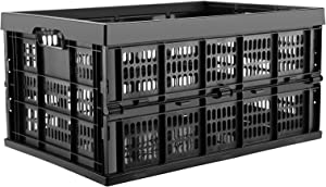 DEAOTEK 45 Liter Collapsible Storage Crate - Plastic Storage Bin Container Stackable Milk Crate with Handle Utility Tote for Toys Food Clothes Tools in Kitchen Bathroom Garage Outdoor