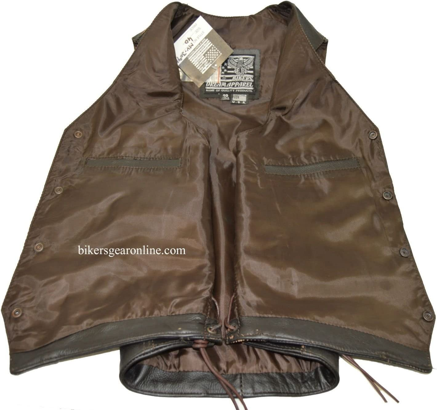 Mens Motorcycle Bikers Retro Brown Leather Vest Native American Back Side Laces 40 Regular