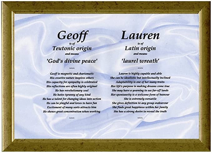 Unique twins couples personalised framed first name meaning gift unique twins couples personalised framed first name meaning gift idea for birthdays christmas engagements displaying 2 names side by side stopboris Gallery
