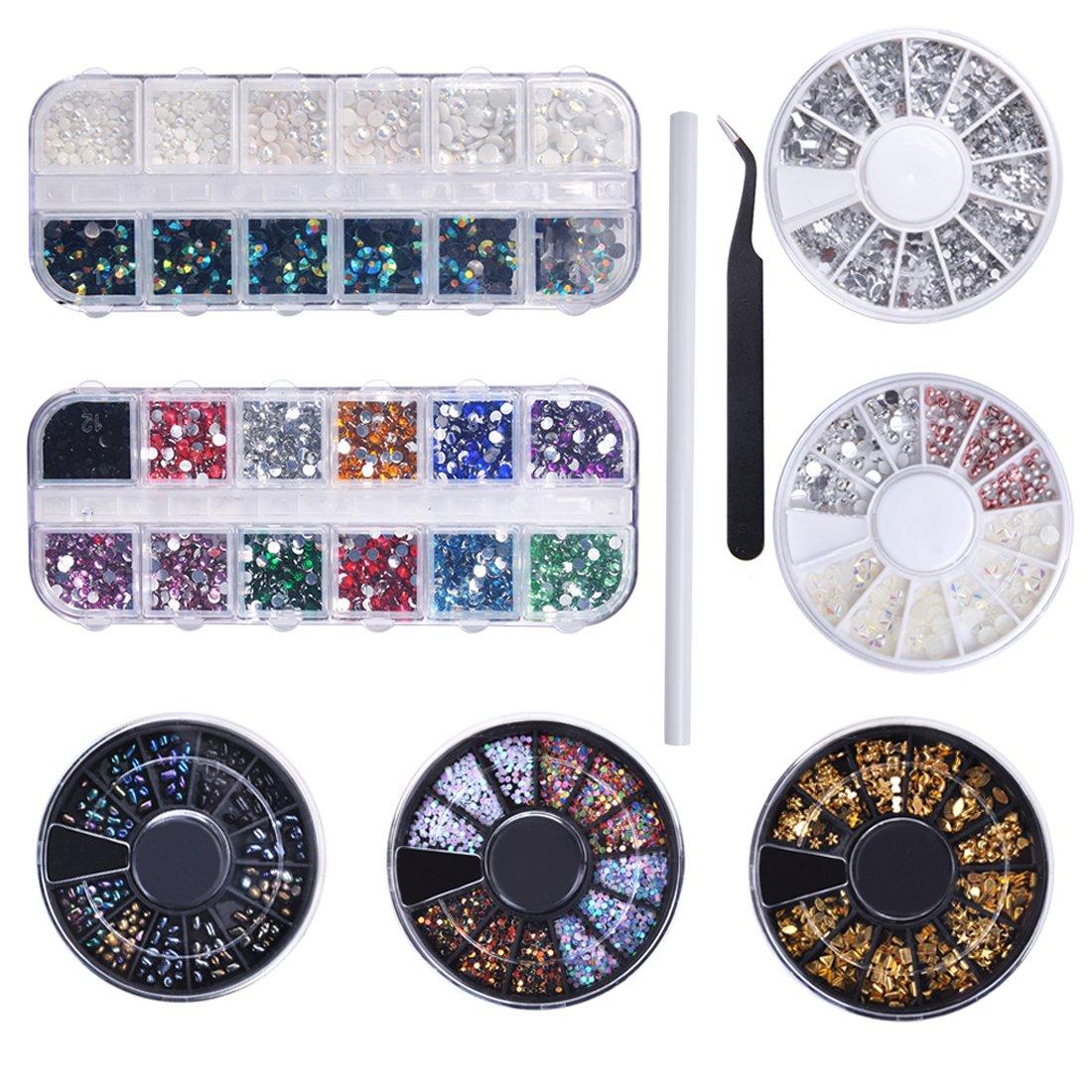 Biutee 10 Wheels nail art decor accessories Nail Rhinestones Premium Manicure Nail Art Decorations Nail Tools TOOL-AT-730