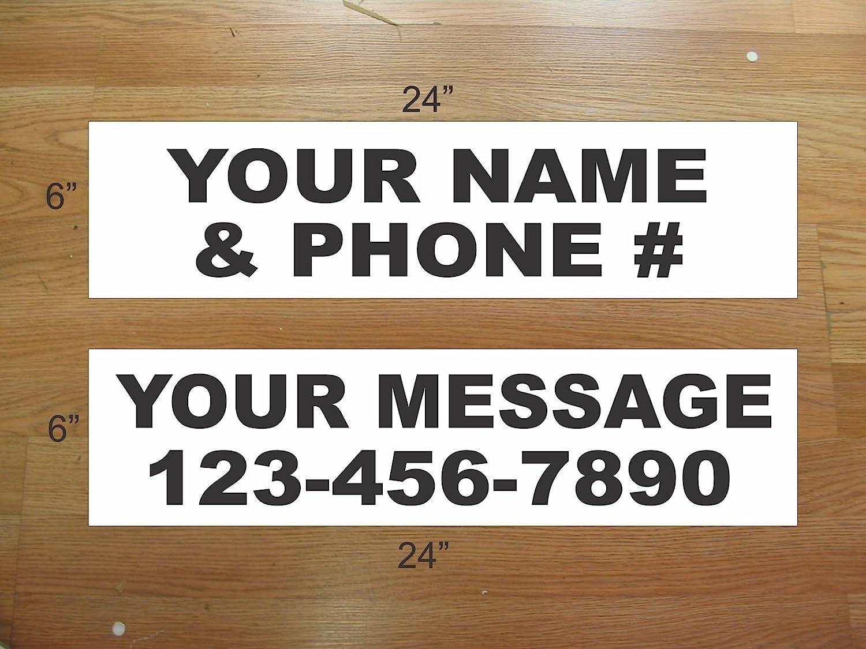 10-6x24 Custom Name Phone Info Real Estate Rider Sign Black