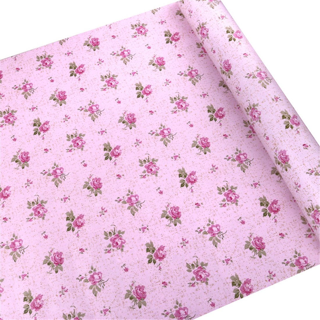 Vanyear Floral Decorative Contact Paper Self Adhesive Shelf Liner Home Kid's Room Decor 17x118 Inch