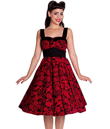 9915b6c1ae Amazon.com  Hell Bunny 50 s Arcadia Rose Anchor Dress Red  Clothing