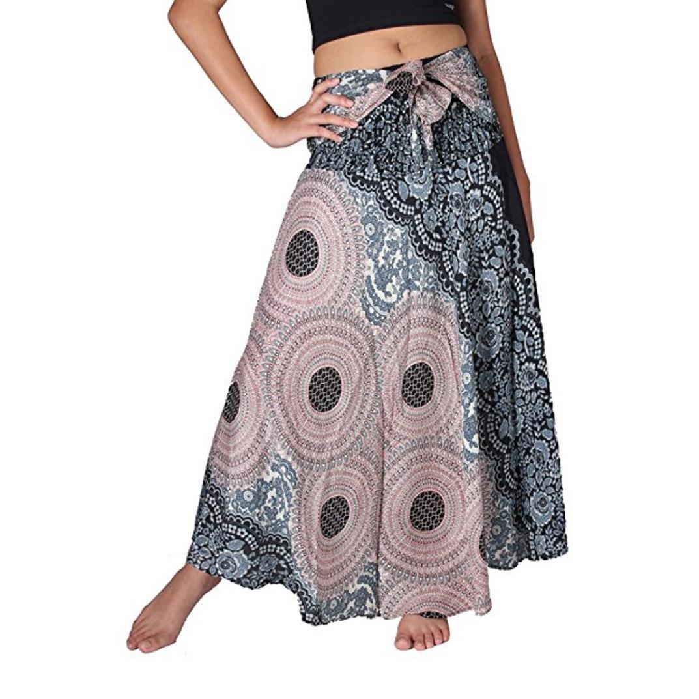 Anxinke Women's Floral Printed Hippie Gypsy Elastic Long Skirts (L)