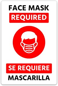 """Hot4TShirts Face Mask Required Sign 4 Pack — Vinyl Window Stickers for Business — Storefront Decals Social Distancing (Red, 8""""x12"""")"""