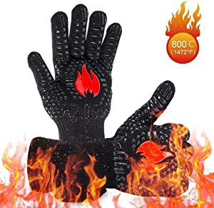 HALILUS Premium BBQ Gloves (1 Pair), 1472℉ Extreme Heat Resistant Grill Gloves, Food Grade Kitchen Oven Mitts, Silicone Non-Slip Cooking Gloves for Barbecue/Grill/Smoker/Fry Turkey/Oven mitt/Baking