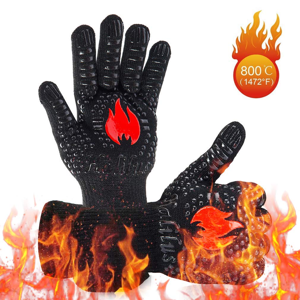 HALILUS Premium BBQ Gloves (1 Pair), 1472℉ Extreme Heat Resistant Grill Gloves, Food Grade Kitchen Oven Mitts, Silicone Non-Slip Cooking Gloves for Barbecue/Grill/Smoker/Fry Turkey/Oven mitt/Baking by IMISNO