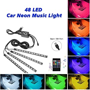 YI-SHUN Car LED Strip Light, Multicolor Music Car Interior Lights RGB Under Dash Decorative Lighting Waterproof Kit with Sound Active Function and Wireless Remote Control 4pcs 48LED, DC 5V (USB Port)