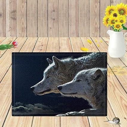 0e85edb6ba6d Kwboo Dos alfombras de baño con Cabeza de Lobo Gris, Alfombrilla de baño  Antideslizante,