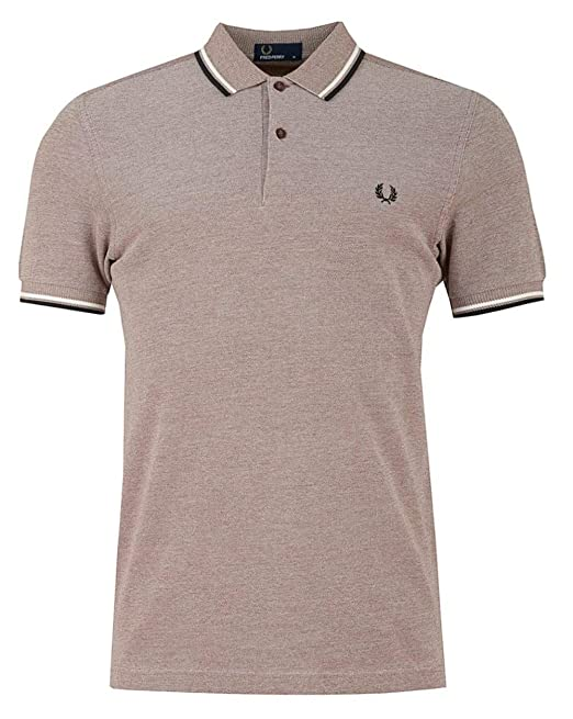 Fred Perry Hombres Doble Punta m3600 Polo Camisa Rojo Claro M ...