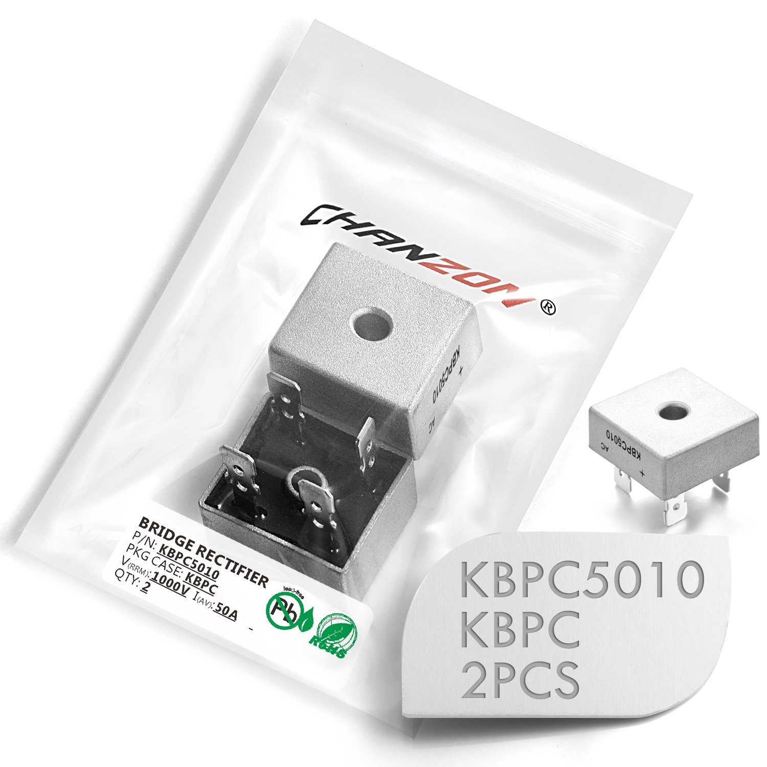 (Pack of 2 Pieces) Chanzon KBPC5010 Bridge Rectifier Diode 50A 1000V KBPC  Single Phase, Full Wave 50 Amp 1000 Volt Electronic Silicon Diodes:  Amazon.com: ...