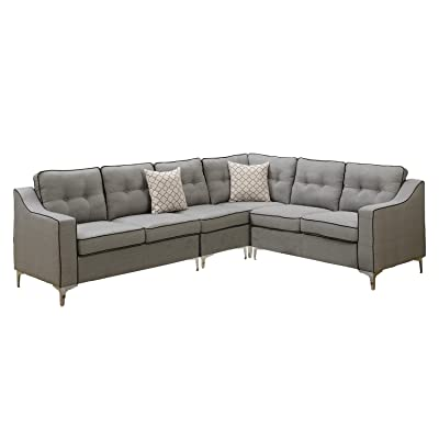 Poundex F6888 Bobkona Adalia Sectional Set, Light Grey