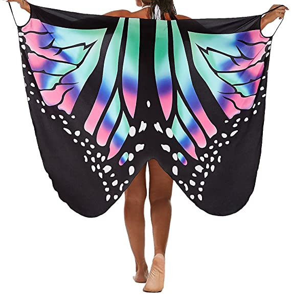 056f7aa8268 JUNBOON Women s Beach Cover up Butterfly Wings Shape Scarf Swimsuit Shawl  Wraps