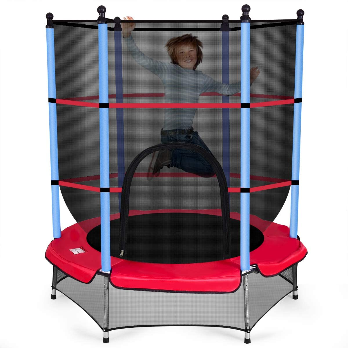 GYMAX Trampoline for Kids, 55 Round Rebounder Exercise Trampoline with Safety Pad Enclosure Net