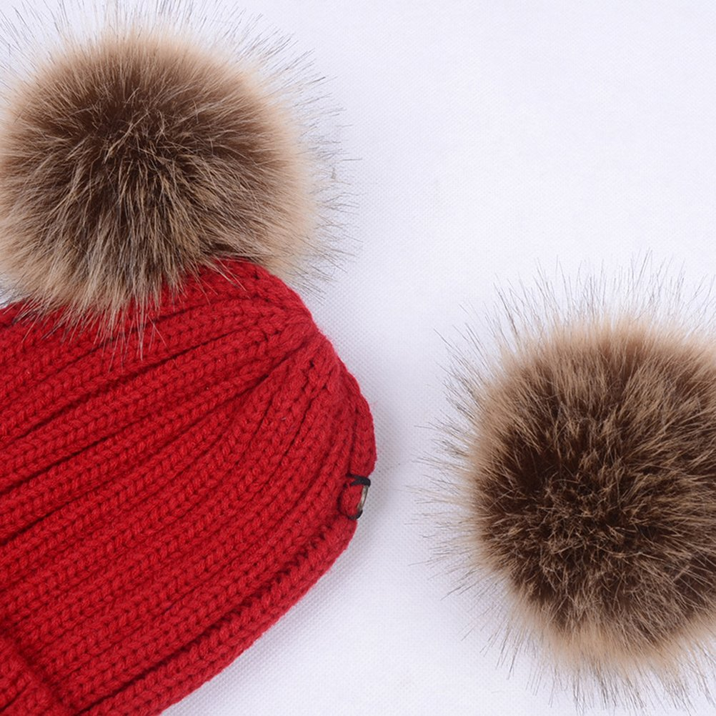 19e0eaf4cd1 Amazon.com  TINKSKY Winter Knit Beanie Bobble Hat Cap With Double Pom Pom  Ears Christmas Gift For Women Girls (Wine Red)  Clothing