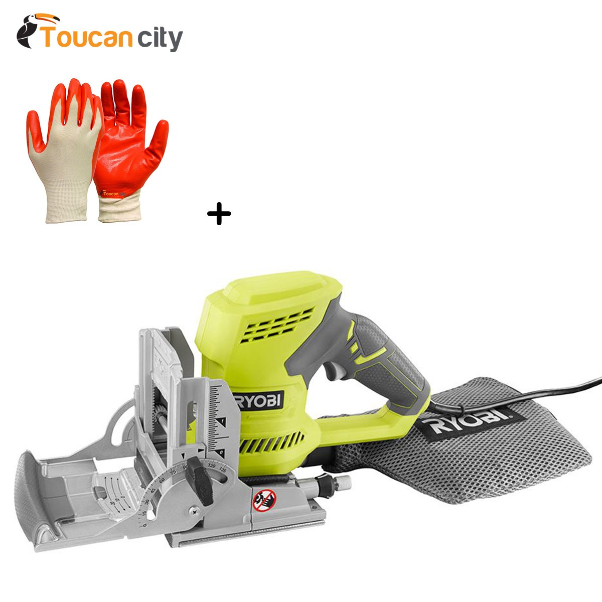 Ryobi 6 Amp AC Biscuit Joiner Kit with Dust Collector and Bag JM83K and Toucan City Nitrile Dip Gloves(5-Pack)