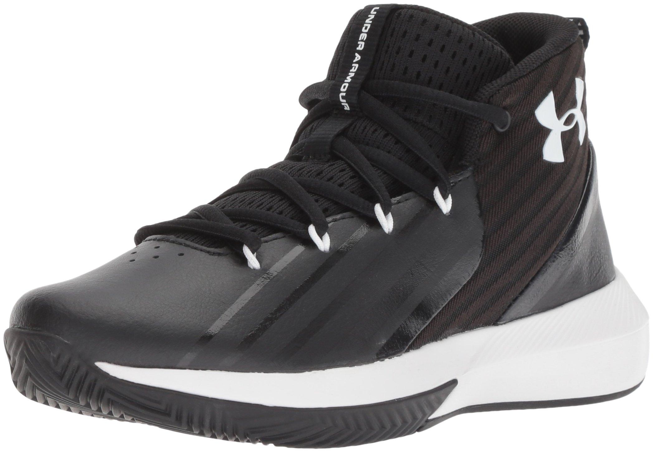 Under Armour Boys' Grade School Launch Basketball Shoe, Black (002)/White, 5
