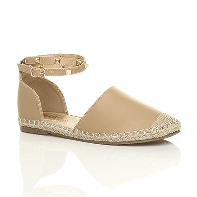 863850c2ae0c0 Ajvani Womens Ladies Flat Studded Ankle Strap Espadrilles Shoes Sandals  Size 3 36