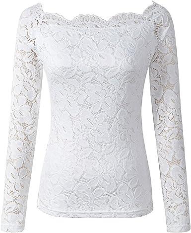 Blusas De Mujer De Moda Vintage Encaje Camisetas Niñas Ropa Manga Larga Barco Cuello Color Sólido Slim Fit Elegantes Primavera Tops T Shirt: Amazon.es: Ropa y accesorios